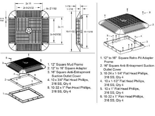 """AquaStar 16"""" Square Anti-Entrapment Suction Outlet Cover, Mud Frame and Retro-Adapter Sub-Frame for 12"""" Square 3/4"""" Deep Retrofits (VGB Series)   White   1216101"""
