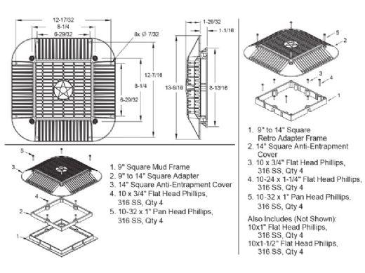 "AquaStar 14"" Square Anti-Entrapment Suction Outlet Cover, Mud Frame and Retro-Adapter Sub-Frame | for 9"" Square | .75"" Deep Retrofits | White | 914101"