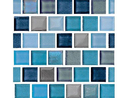 National Pool Tile Jules 1x1 Glass Tile | Rustic Blue Blend | 9730-5AT