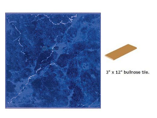 National Pool Tile Seven Seas 3x12 Single Bullnose Pool Tile | Mediterranean Blue | PA32 SBN