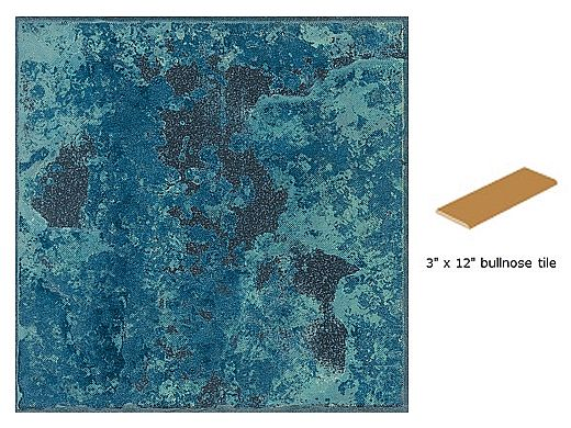 National Pool Tile Verona 3x12 Single Bullnose Pool Tile | Borba Turquoise | VR679 SBN