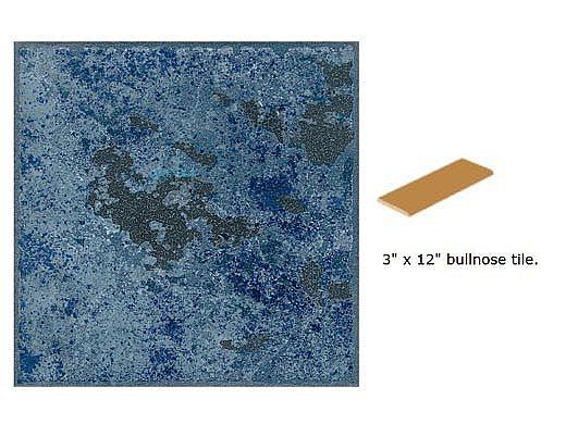National Pool Tile Verona 3x12 Single Bullnose Pool Tile | Tondela Blue | VR681 SBN