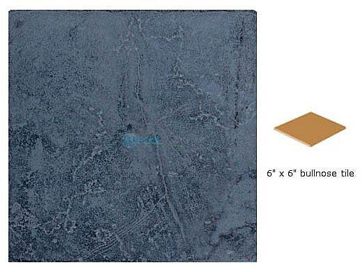 National Pool Tile Catania 6x6 Single Bullnose Pool Tile   Ocean Blue   CATBLUE SBN