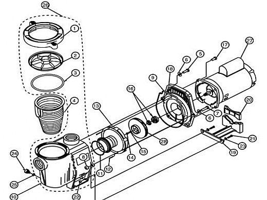 Pentair WhisperFlo 1HP Energy Efficient Full Rated 3-Phase Pool Pump 208-230-460V | WFK-4 | 011568 011641