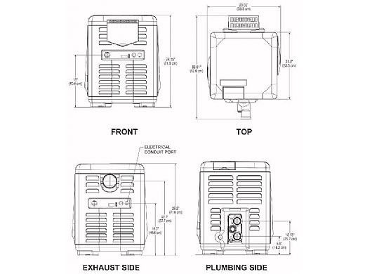 Pentair MasterTemp Low NOx Pool Heater - Electronic Ignition - Propane - 200,000 BTU - 460731