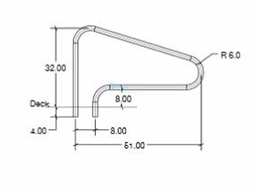 """SR Smith 48"""" Center Grab 3 Bend Rail Stainless Steel 