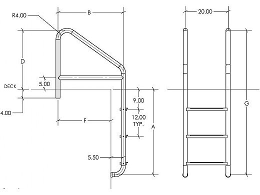 "SR Smith Econoline Standard Crossbrace Plus Ladder | Commercial 23"" 4-Step Plastic Tread 0.65"" Wall Thickness 1.90"" Diameter | 10079"
