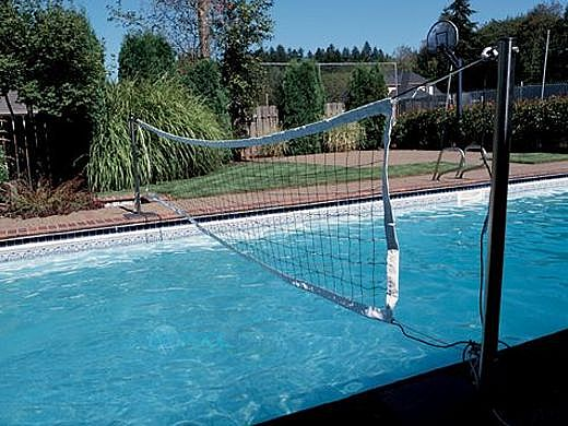SR Smith Swim N' Spike Commercial Volleyball Set with Stainless Steel Poles   32' Net, Anchors Not Included   for Pools 30' to 36' in Width   VOLYC32-1