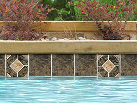 National Pool Tile Aztec Series 6x6 Deco | Ash Nero | AZ8 DECO