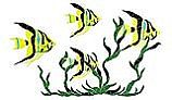 """Porcelain Mosaic Reef Accent Fish Group in Seagrass   31"""" x 50""""   FGSYELLM"""