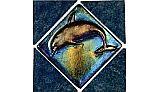 National Pool Tile Aquarius Collection Blue Lagoon 6x6   Aquamarine Dolphin Deco   BLG-AQMARINEDECODL