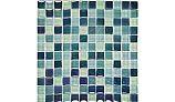 "Artistry In Mosaics Crystal Iridescent - Sea Green Blend Glass Tile | 1"" x 1"" | GC82323G3"
