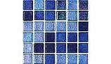 National Pool Tile Tribeca 1x1 Glass Tile | Dark Blue Non Skid | TRI-DKBLUE-NS