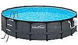 "Summer Waves Elite Dark Wicker Round Metal Frame Pool Package | 15' Round 48"" Tall 