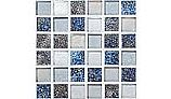 National Pool Tile Pacific Palisades Series 1x1 Glass Tile | Blue Grey | PFS-SEASHORE