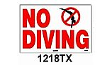 No Diving Sign with Image 12inches x 18inches | 1218TX