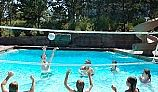 SR Smith Swim N' Spike Volleyball Set | 16' Net with Anchors & Stainless Steel Poles | VOLY